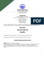 City Council Meeting Agenda February 26, 2013