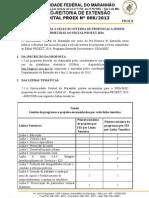 Edital Nº 0082013 Seleção Int. proposta Proext 2014