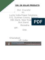 Presentation Solar Energy-LuckyIndia