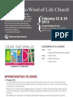 Church Bulletin for February 22 & 24, 2013