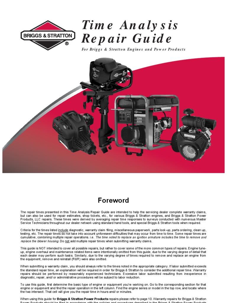 briggs stratton time analysis repair guide form ms 6341 8 04 rh scribd com