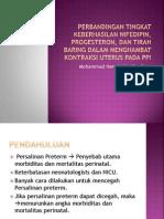 Perbandingan Tingkat Keberhasilan Nifedipin, Progesteron, Dan