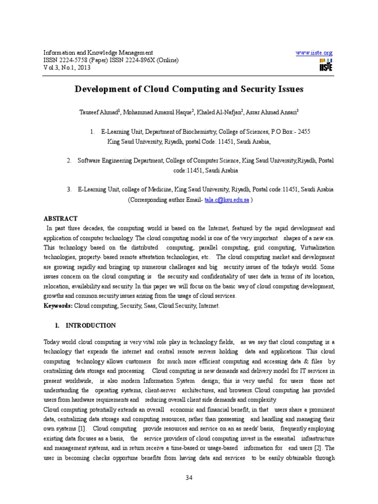 Development of Cloud Computing and Security Issues   Software As A