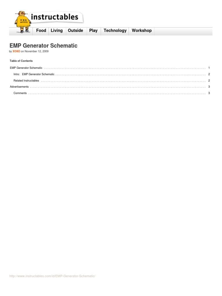 Emp Generator Schematic Tags Jammer Slot Machine Watt Electric Power