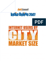 JuxtConsult India Online 2007 Internet Users by City Market Size