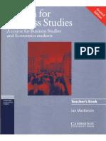 0405.English for Business Studies Teacher's Book. a Course for Business Studies and Economics Students by Ian Mackenzie