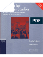 0405.English for Business Studies Teacher's Book. a Course for Business Studies and Economics Students by Ian Mackenzie