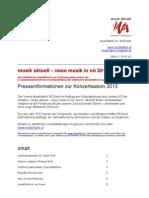 Musik Aktuell in Niederösterreich Pressemappe 2013