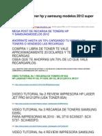 Recarga de Toner Hp y Samsung Modelos 2012 Super Explicado