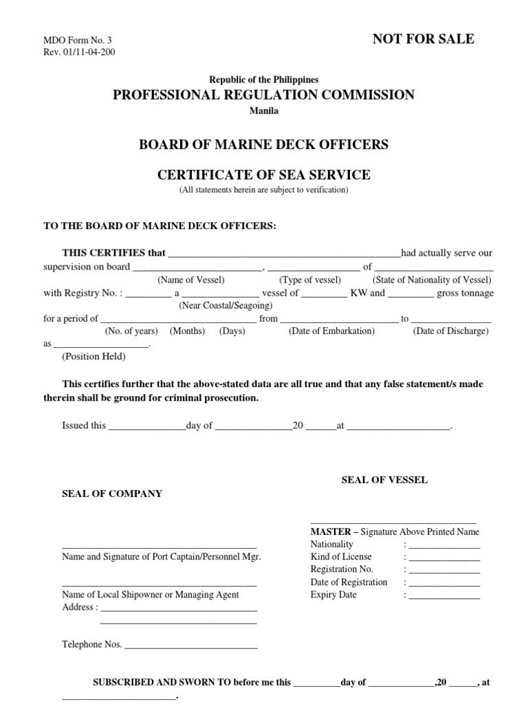 Certificate of sea service prc form 1betcityfo Gallery