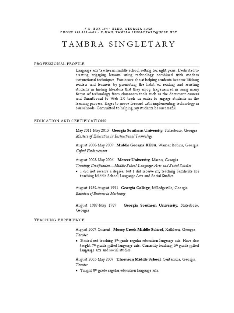 Tambra Singletary Resume Georgia Us State Middle Schools