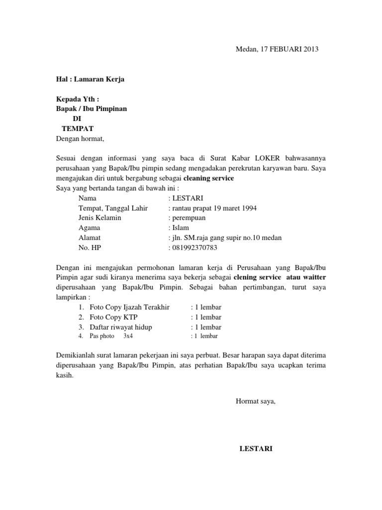 12 Contoh Surat Lamaran Jadi Cleaning Service Kumpulan Contoh Gambar