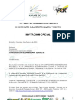 InvitaciÓn Oficial to Suramericano de Karate Do Medellin Colombia 2009