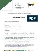 InvitaciÓn Oficial to Suramericano de Karate Do Medellin Colombia 2009
