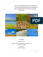 Feed-in Tariff Policy and Legal Instruments, Technical Assistance by the United Nations Environment Programme to support the Ministry of Energy and Energy Affairs of the Republic of Trinidad and Tobago, Final Report, October 2012