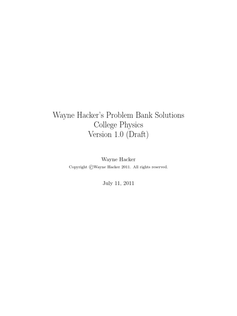 Problem Bank Make File Physics121 Solns | Vector Space