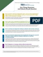 """Listas de """"Five Things Physicians and Patients Should Question"""" publicadas pelas Sociedades de especialidades médicas americanas"""