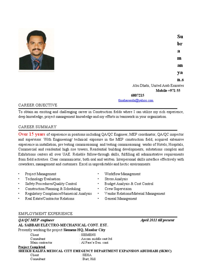 Subramanyan Cv Qc Engineer | United Arab Emirates | General Contractor
