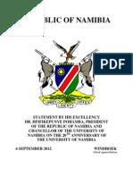 Speech for the President on UNAM 20 Anniversary 6 September 2012