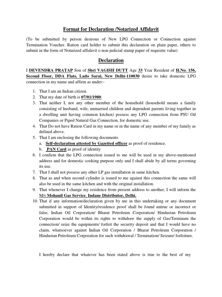 Format for declaration liquefied petroleum gas kitchen altavistaventures Choice Image