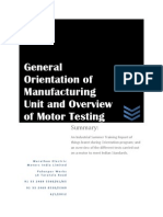 General Orientation of Manufacturing Unit and Overview of Motor Testing