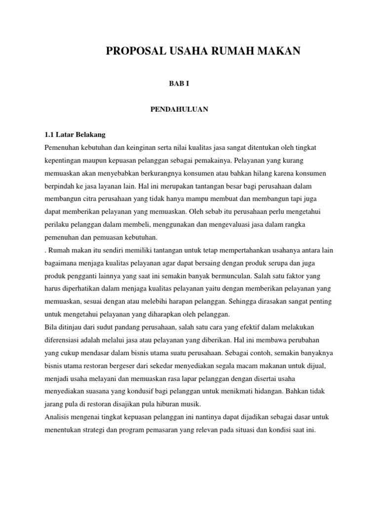 Proposal Usaha Rumah Makan