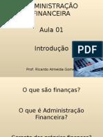 ADMINISTRAÇÃO FINANCEIRA aula 01
