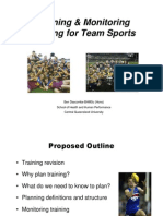 Planning Monitoring Training for Team Sports