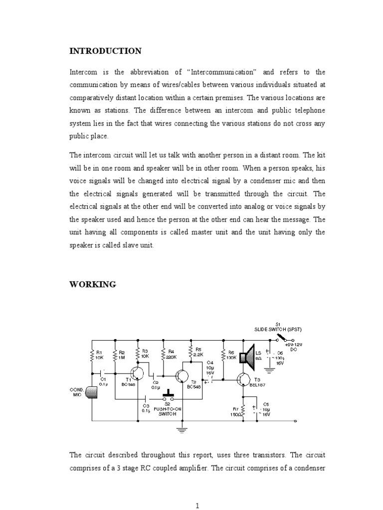 Low Cost Transistorised Intercom Capacitor Microphone Mini Circuit Diagram