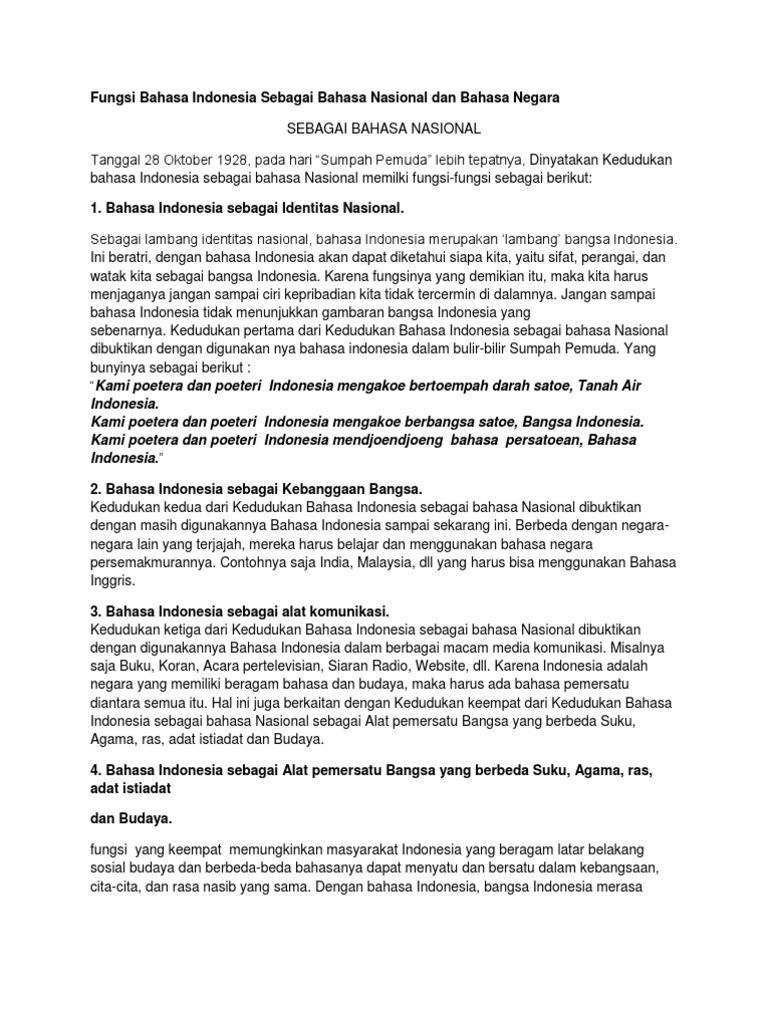 Makalah Fungsi Bahasa Indonesia Sebagai Bahasa Nasional