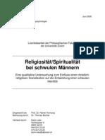Religiosität/Spiritualität bei schwulen Männern. Eine qualitative Untersuchung zum Einfluss einer christlich-religiösen Sozialisation auf die Entwicklung einer schwulen Identität