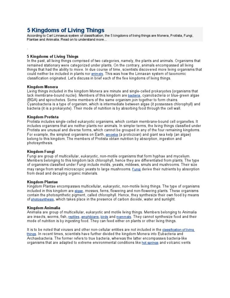 Printable Worksheets five kingdoms of living things worksheets : 5 Kingdoms of Living Things | Plants | Life