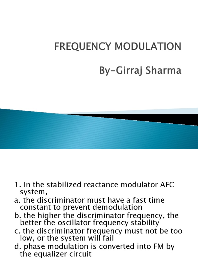 Fm Quiz Frequency Modulation Modulated Oscillator For Transmitter