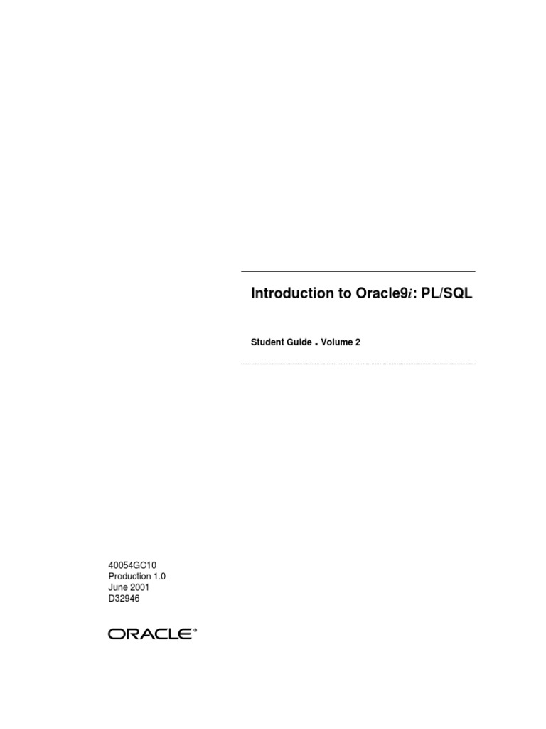 Oracle 9i pl sql vol 2 plsql subroutine baditri Choice Image