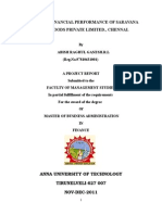 MBA  Accounting Project, A STUDY ON FINANCIAL PERFORMANCE OF SARAVANA STORES FOODS PRIVATE LIMITED., CHENNAI.
