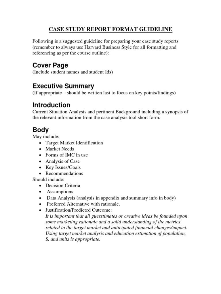 Business case analysis format keninamas case study report format guideline 1 literature review citation accmission Images