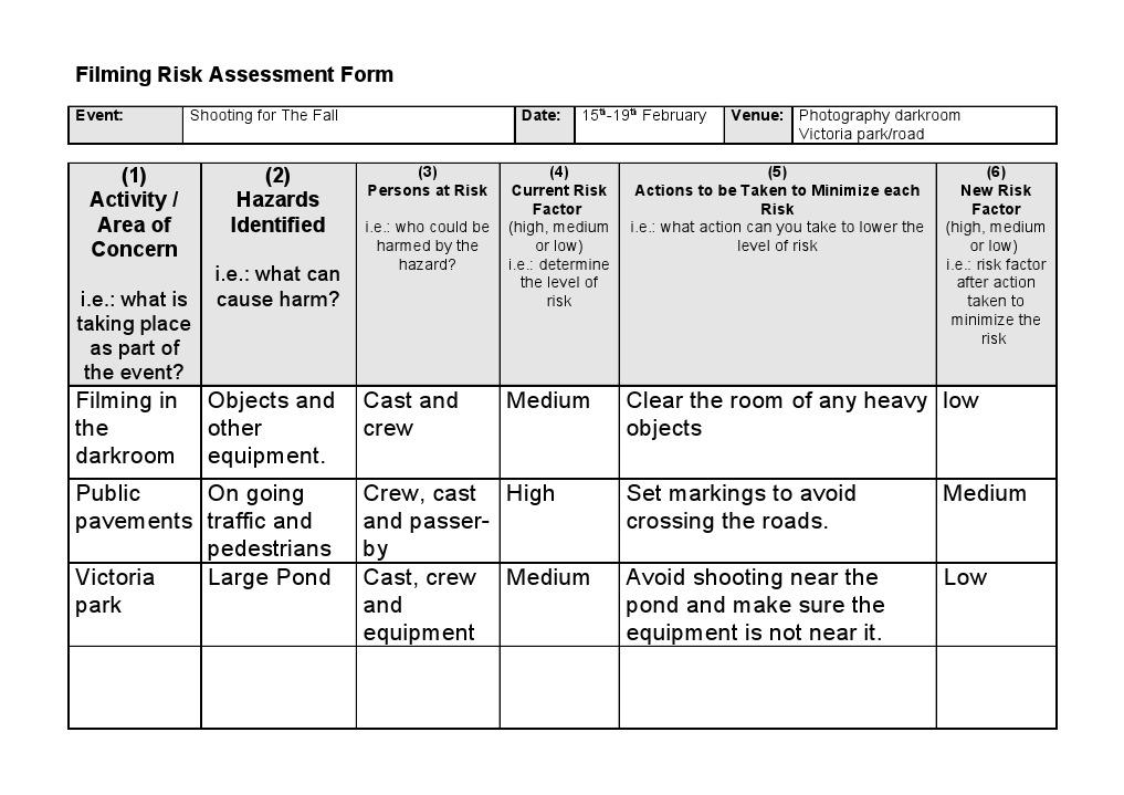 formal risk assessment template - filming risk assessment form risk occupational safety