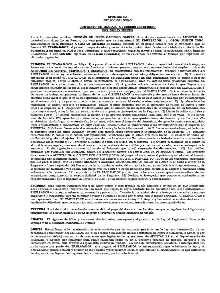 Contrato de trabajo indefinido medio tiempo for Modelo contrato indefinido