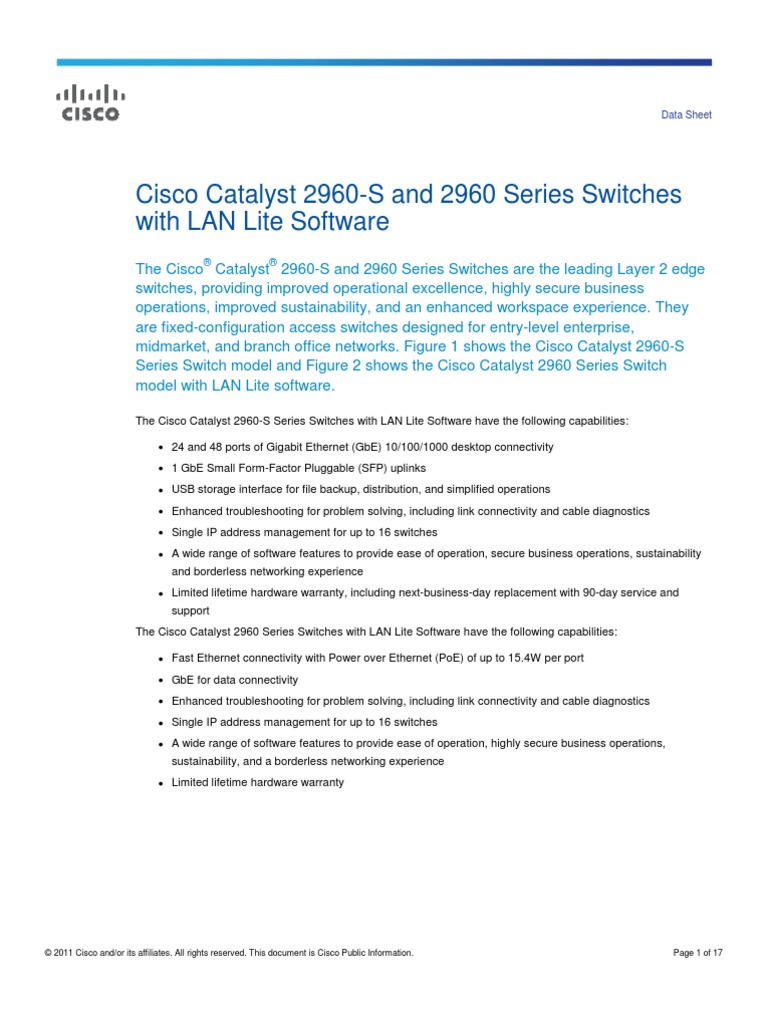 Catalyst 2960 Datasheet | Computer Network | Network Switch