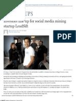 LeadSift_ Investors Line Up for Social Media Mining Startup _ FP Startups _ Entrepreneur _ Financial Post