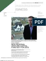 Telegraph Journal - Business - Development __ New Regional Venture Capital Fund Set for 2013