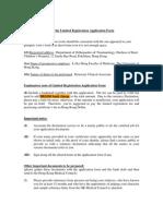 Info for the Limited Registration App Form
