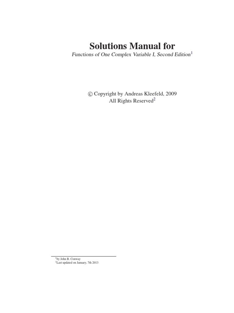 Complex analysis homework solutions