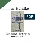 Handke Peter Ensayo Sobre El Cansancio