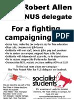 Vote Robert Allen #1 for NUS delegate