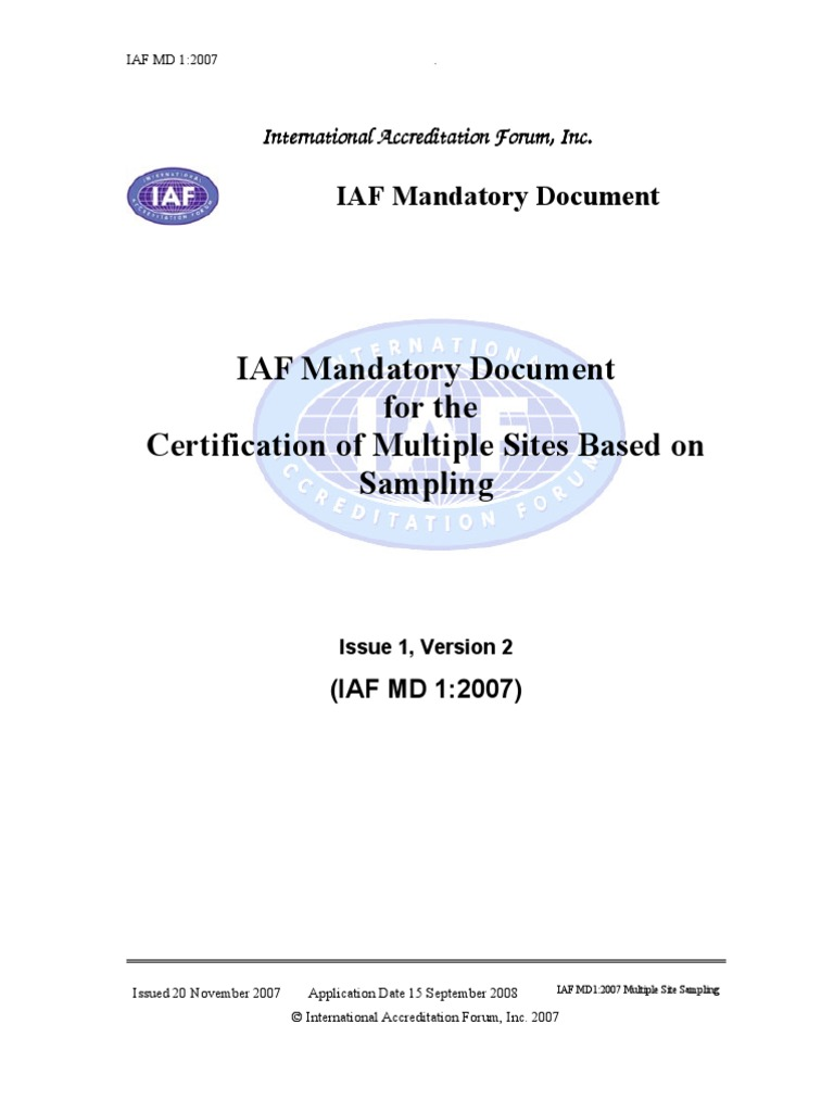 Iaf Md1 2007 Certification Of Multiple Sites Issue1v2pub4 Audit
