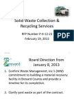 Waste Management Board Presentation from February 19th, 2013 Meeting