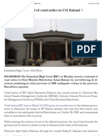 IHC Issues Contempt of Court Notice to CM Raisani | DAWN.com