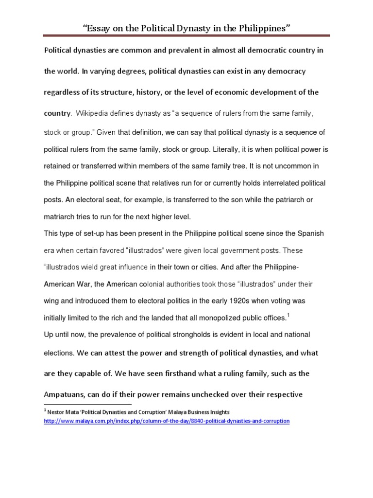 essay on political dynasties in the democracy essay on political dynasties in the democracy