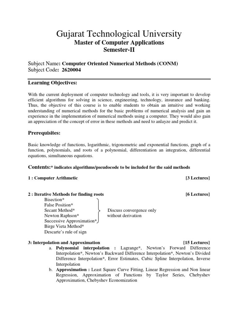 Computer Oriented Numerical Methods (CONM)2620004